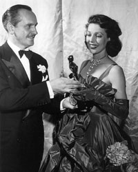 Loretta Young accepting Oscar